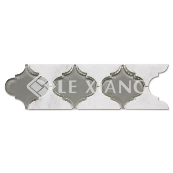 Arabesque Border Marble Mixed Glass Mosaic Tile For Wall-1
