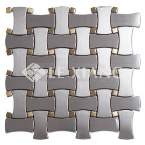 Basketweave Stainless Steel Mosaic Tile Kitchen Backsplash-1