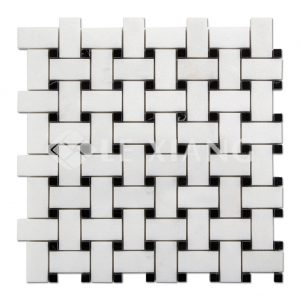 Basketweaveing White Thassos Marble Mosaic For Bathroom Floors-1