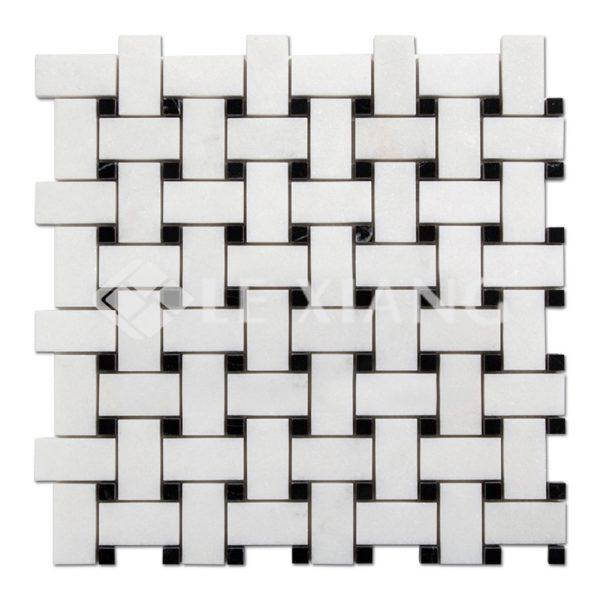 Basketweaveing White Thassos Marble Mosaic For Bathroom Floors-1