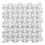 Basketweaveing White Thassos Marble Mosaic For Bathroom Floors-2