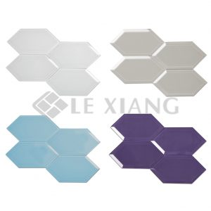 Beveled Crystal Hexagon GlassMosaic Tiles Bathroom Wall-1