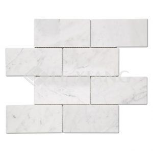Bianco Carrara Brick Marble Mosaic Tiles For Wall-2