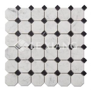 Bianco Carrara Marble Octagon Mosaic Tile-1
