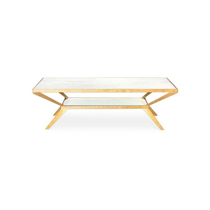 Bistratal Rectangle Marble Coffee Table-11