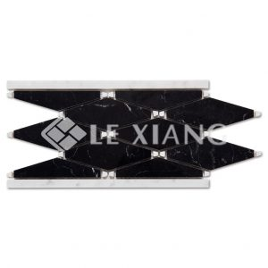 Black And White Rhombus Marble Border Moaic Tile For Bothroom Wall-1