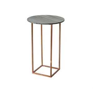 Black Tall Marble Top Side Table-2