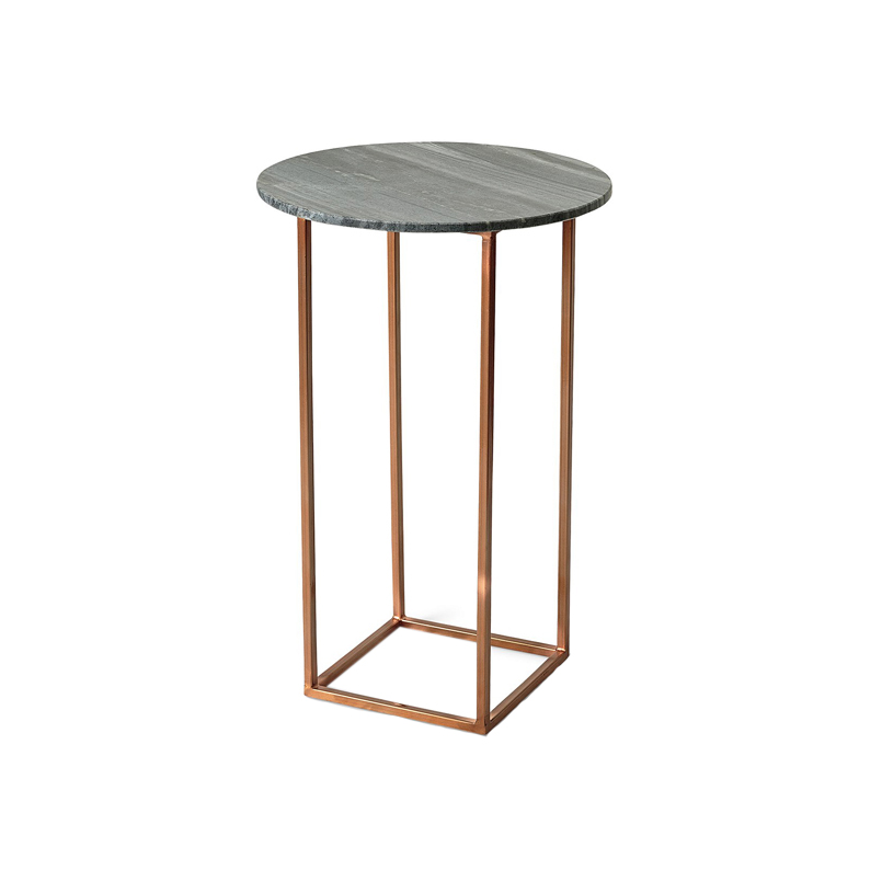 Ryan Marble Stainless Steel Square Coffee Table 60cm: Black Tall Marble Top Side Table