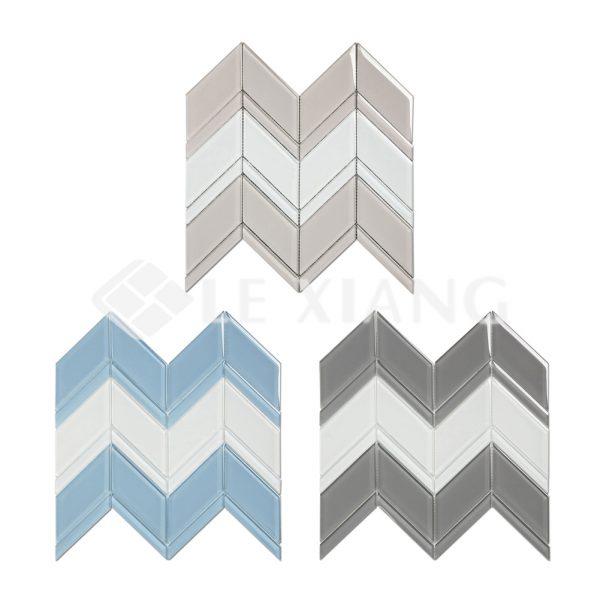 Blends Chevron Kitchen Backsplash Crystal Glass Mosaics Tile-4
