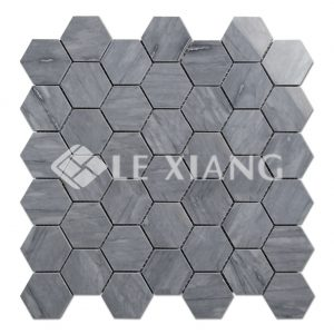 Blue Hexagon Stone Mosaics Tiles Bathroom Floors-1