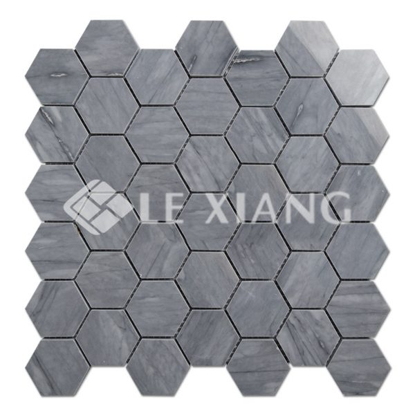 Blue Hexagon Stone Mosaics Tiles Bathroom Floors-1