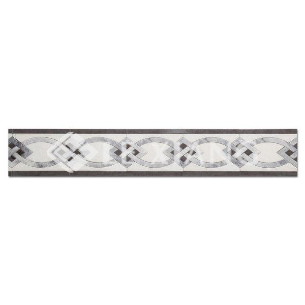 Border Marble Stone Mosaic Tile Bianco Diamante-1