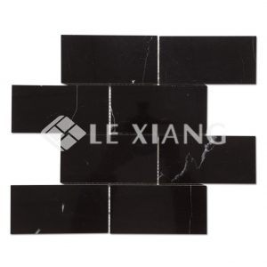 Brick Nero Marquina Black Marble Mosaic For Tile Bathroom Floors-1