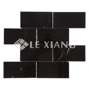 Brick Nero Marquina Black Marble Mosaic For Tile Bathroom Floors-1
