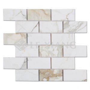 Brick Stone Mosaic Tile For Floor Collection Calacatta Gold Marble-1