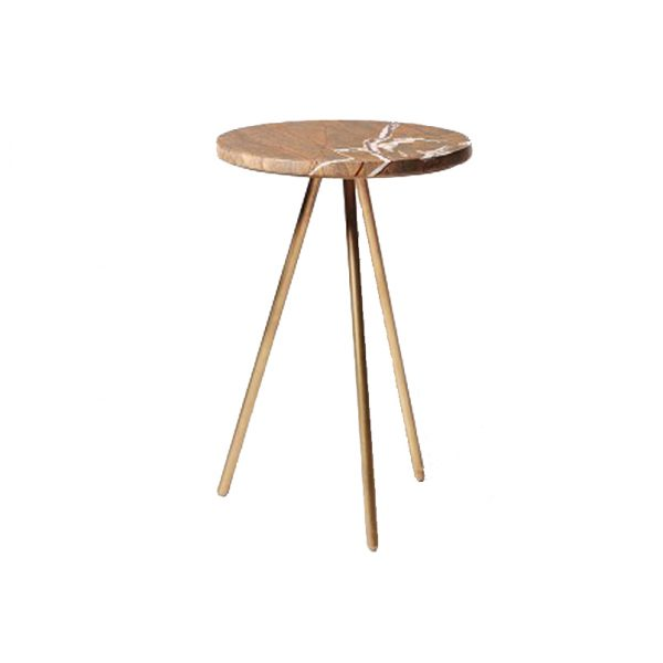Brown Round Marble Side Table-1