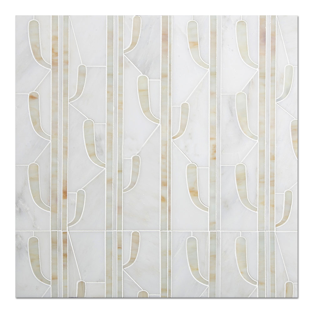 Cactus Water Jet Marble Mosaic Tile For Wall