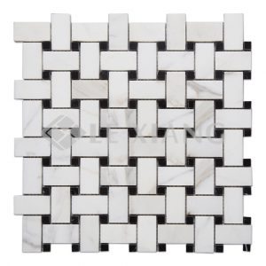 Calacatta Gold Stone Basketweave Marble Mosaic Backsplash Tile-1