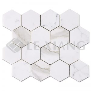 Calacatta Gold Stone Hexagon Mosaic Tiles For Kitchen Backsplash-1