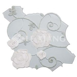 Camellia WaterJet Cut Mosaic Stone Tile For Bothroom Wall-1