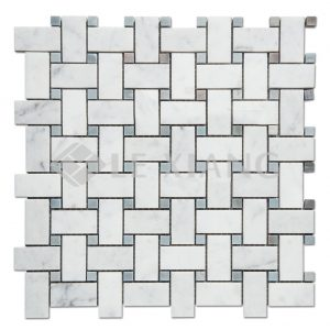 Carrara Basketweave Marble Mosaic Tile For Kitchen Backsplash-2