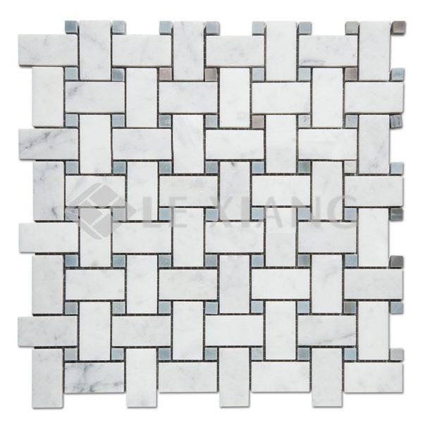 Carrara Basketweave Marble Mosaic Tile For Kitchen Backsplash-2