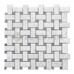 Carrara Basketweave Marble Mosaic Tile For Kitchen Backsplash-3