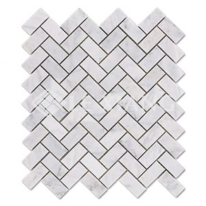 Carrara Herringbone Stone Mosaic Tiles For Bathroom Floors-1