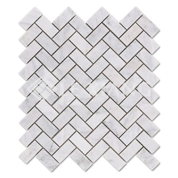 Carrara Herringbone Stone Mosaic Tiles For Bathroom Floors-1