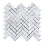 Carrara Herringbone Stone Mosaic Tiles For Bathroom Floors-2