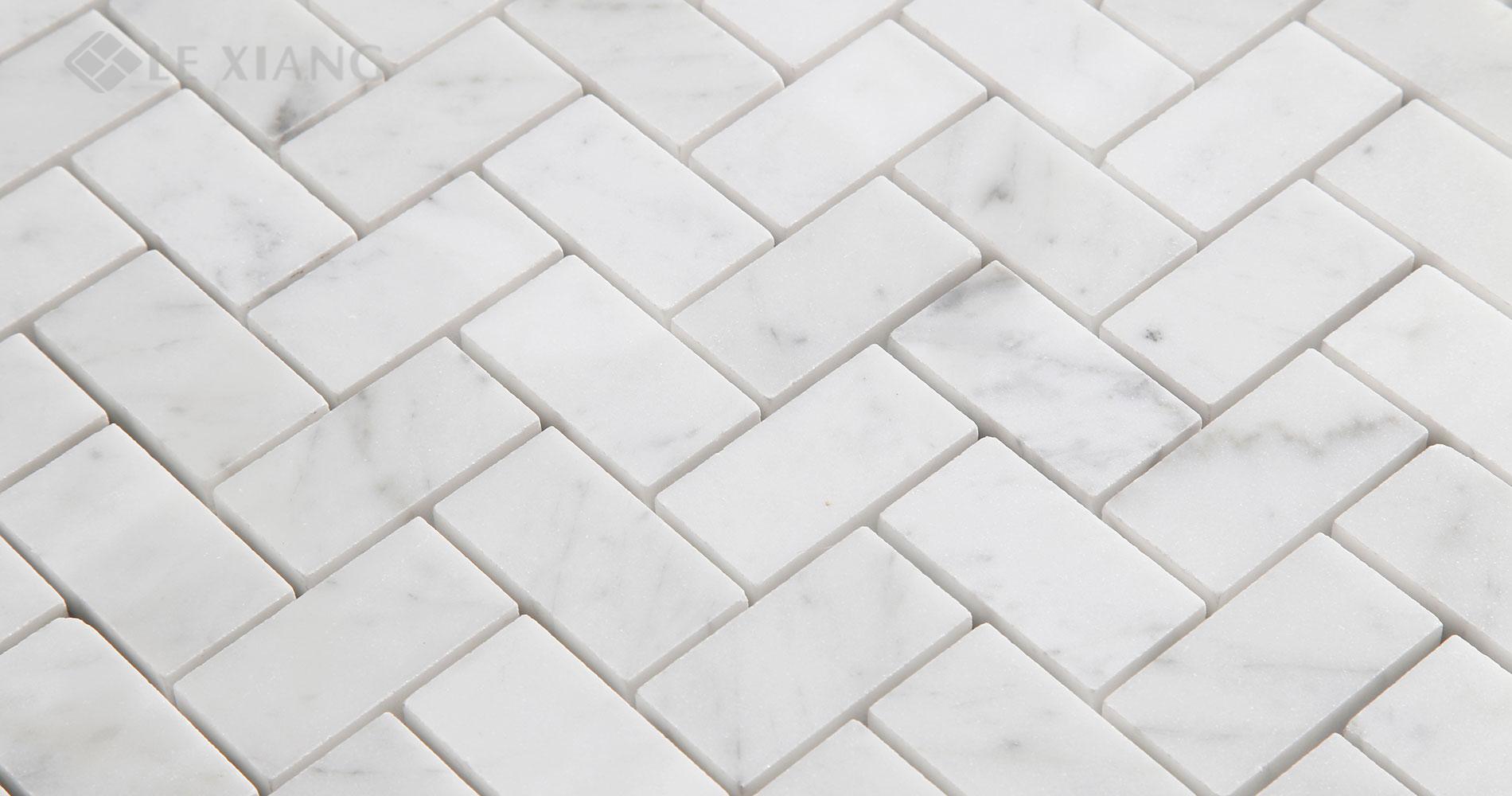 Carrara Herringbone Stone Mosaic Tiles For Bathroom Floors 5