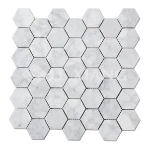 Carrara Marble Hexagon Mosaic Tiles For Kitchen Backsplash-1