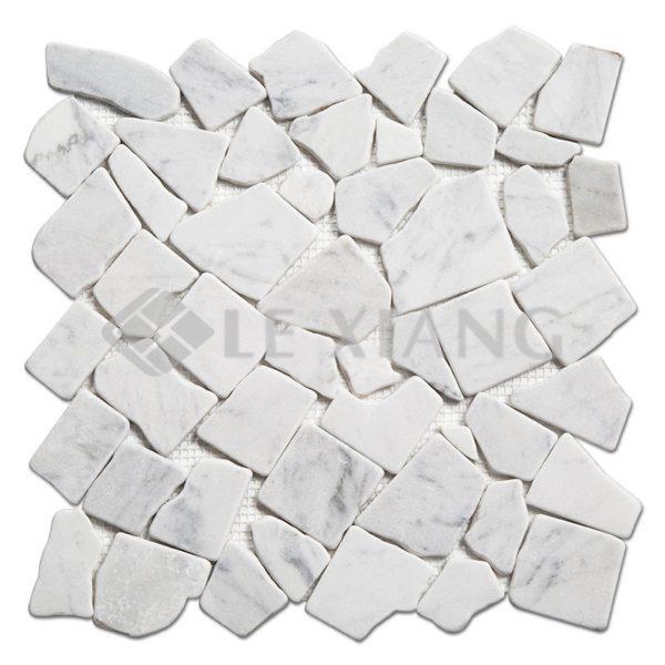 Carrara Pebble Marble Mosaic Flooring Tile For Bathroom Floors And Wall Tiles-1