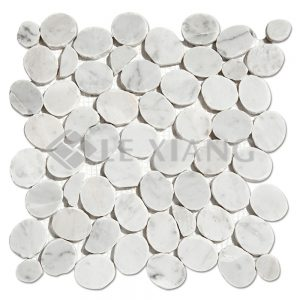 Carrara Pebble Stone Marble Mosaic Floors Tile For Bathroom Floors-1