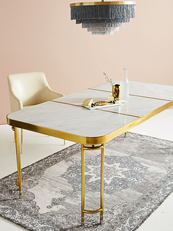 Carrara White Marble Dining Table Brass Base 1