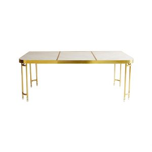 Carrara White Marble Dining Table Brass Base-2