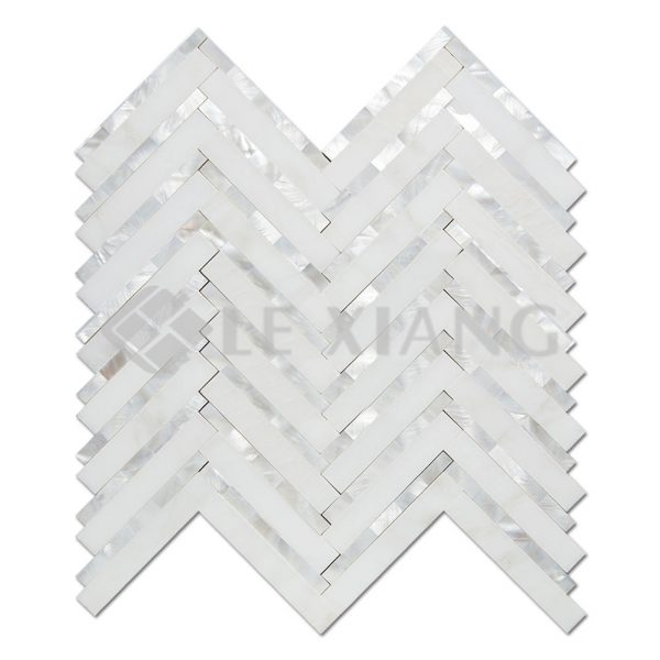 Chevron Marble and Shell Marble Mosaic Tile Bothroom Wall-1