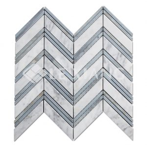Chevron Pattern Marble Mosaic Tile Bothroom Floors Kitchen Backsplash 1-1
