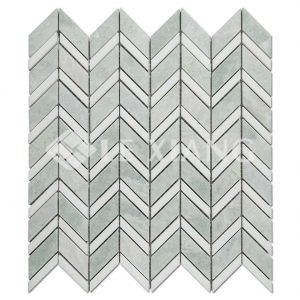 Chevron Pattern Marble Mosaic Tile Bathroom Floors Kitchen Backsplash 2-1