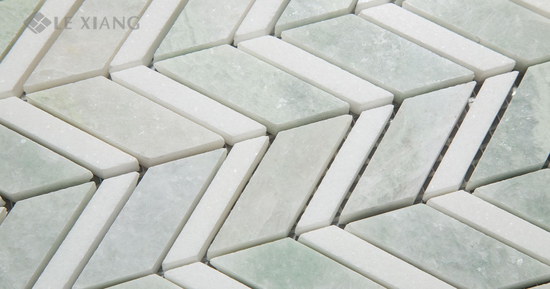 Chevron Pattern Marble Mosaic Tile Bothroom Floors Kitchen