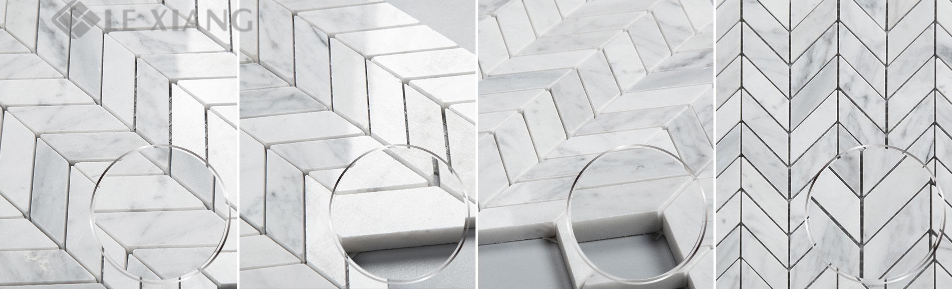 - Chevron Pattern Marble Mosaic Tile Bothroom Floors Kitchen