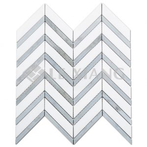 Chevron Pattern Marble Mosaic Tile Bathroom Floors Kitchen Backsplash 4-1
