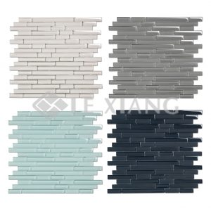 Colorful Strip Crystal Glass Mosaic Tile 4-5