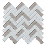 Crystal Glass Blends Herringbone Mosaic Tiles For Kitchen Backsplash-1