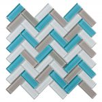 Crystal Glass Blends Herringbone Mosaic Tiles For Kitchen Backsplash-2