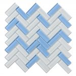 Crystal Glass Blends Herringbone Mosaic Tiles For Kitchen Backsplash-3