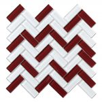 Crystal Glass Blends Herringbone Mosaic Tiles For Kitchen Backsplash-4