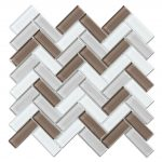Crystal Glass Blends Herringbone Mosaic Tiles For Kitchen Backsplash-5