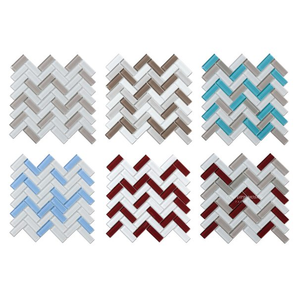 Crystal Glass Blends Herringbone Mosaic Tiles For Kitchen Backsplash-6