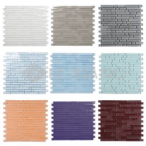 Crystal Glass Strip Mosaics Tile Kitchen Backsplash Bathroom Wall-1
